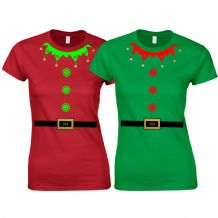 Christmas Elf Suit Ladies Fitted T-Shirt - Cute Santa's Little Helper Funny Gift